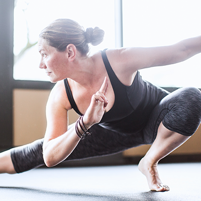 woman posing in yoga class