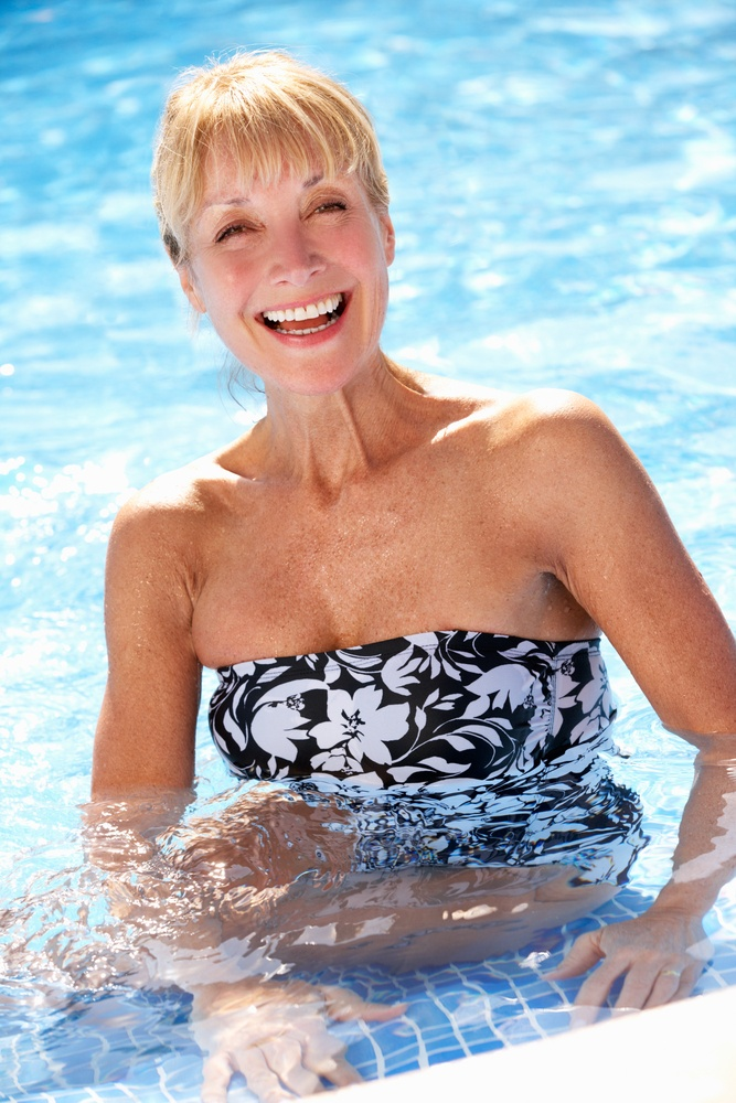 senior at aqua fitness class in rocklin